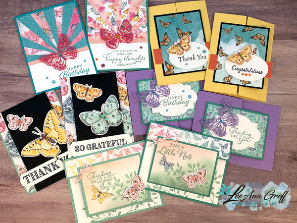Both Butterfly Bouquet and Season of Flowers Cards Kit to go