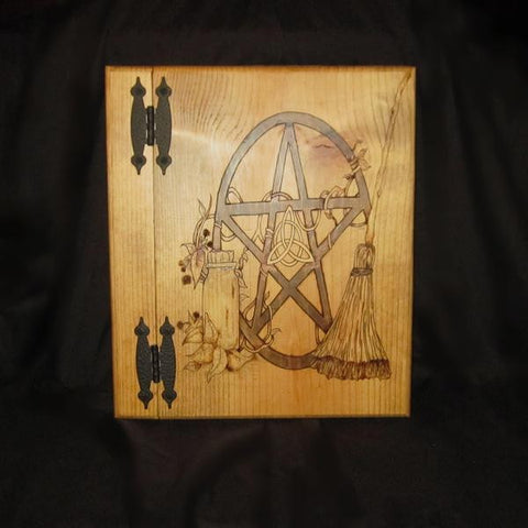 Pentagram with Broom and Herbs Book of Shadows