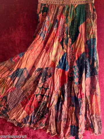 Fire Dancer Gypsy Boho Dyed Patchwork Skirt-Free Size