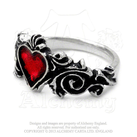 Betrothal - Red Enameled Ring