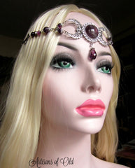 Amethyst Triple Moon Goddess Headpiece, Ritual Circlet