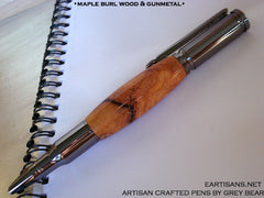 Maple Burl Wood and Gun Metal Finish Handmade Twist Pen