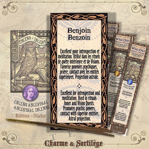 Benzoin Wise Owl Stick Incense-20pk - Eartisans Wiccan