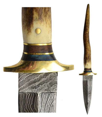Bone Damascus Athame 8 1/2""