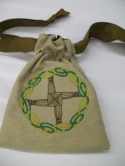 Brigids Cross Embroidered Drawstring Tarot Rune Bag 7x9 inch