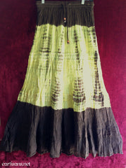 Tie Dye Crinkle Cotton Crochet Gypsy Skirt-Brown and Tan Free Size