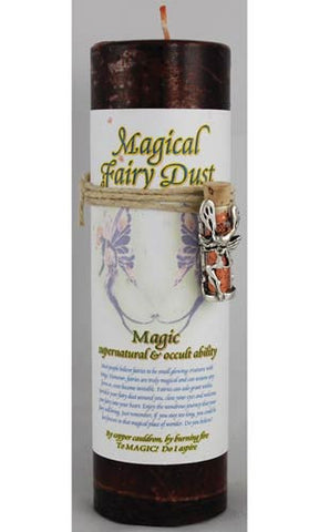 "Magical Fairy Dust ""Magic"" Pillar Candle with Fairy Dust Necklace"