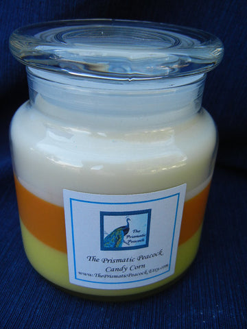 Candy Corn Scented Soy Candle 20oz Apothecary Jar