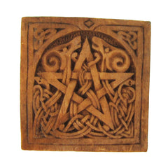 Small Square Pentacle Plaque - Wood Finish