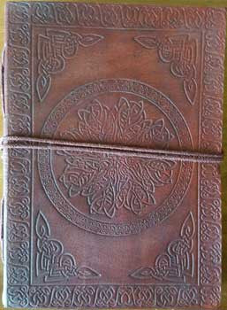 "Celtic Mandala Leather Blank Book with Cord 5"" x 7"""