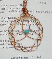 Copper Triquetra Pendant with Turquoise