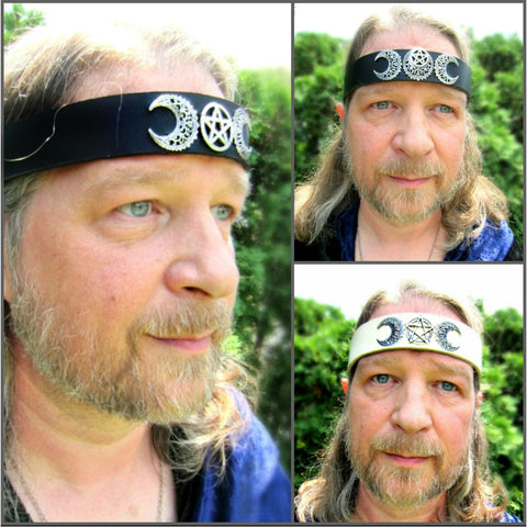 Crescent Moon Pentacle Headpiece Ritual Leather Headband