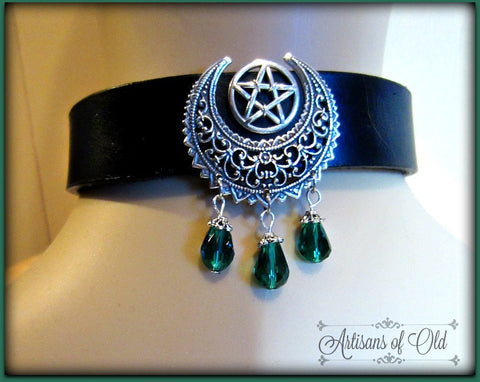 Crescent Pentacle Leather Choker with Teardrops