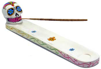 White Day of the Dead Sugar Skull Incense Holder