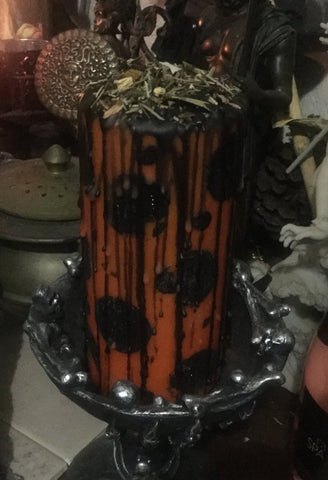 Divination Candle For Samhain, Hallows Eve, Necromancy or Day of Dead