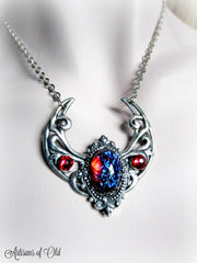 Dragon's Breath Opal Silver Crescent Necklace