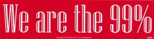 "We Are the 99% bumper sticker - 11 1/2"" by 3"""