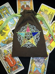Embroidered Brown Canvas Pentacle Elements Tarot Bag 7x9 inch (Customizable)