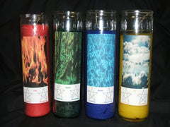 Set of 4 Elemental Ritual Quarter Candles - Air, Fire, Water, Earth