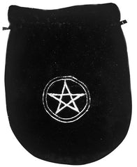 Embroidered Black Pentacle Velvet Bag-8x6