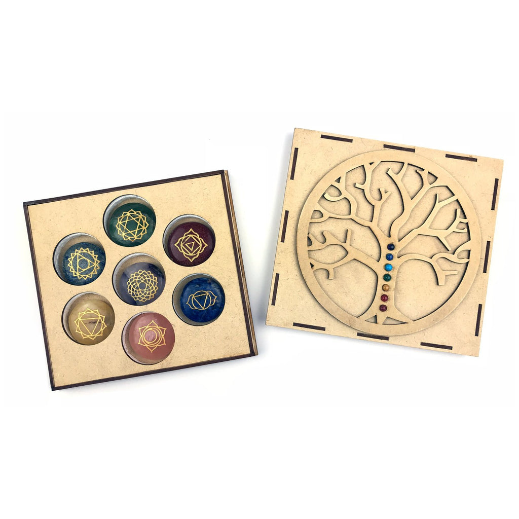 Engraved 7 Chakra Stone Set With Wooden Tree Of Life Box