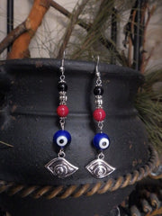 Evil Eye Dangle Earrings for Protection Against Negativity, Envy and Misfortune