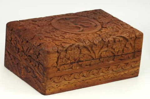 "Om Wooden Carved Box 4"" x 6"""