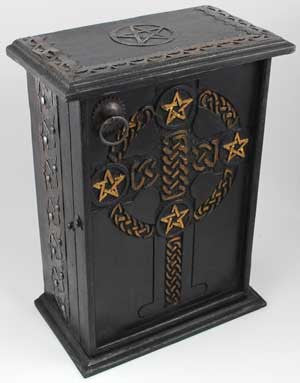 Pentagram and Celtic Cross Altar Cupboard
