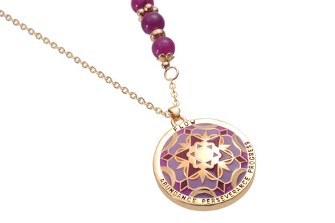 Mandala Pendant & Necklace. Meaning: Flow Abundance-Perseverance and Progress