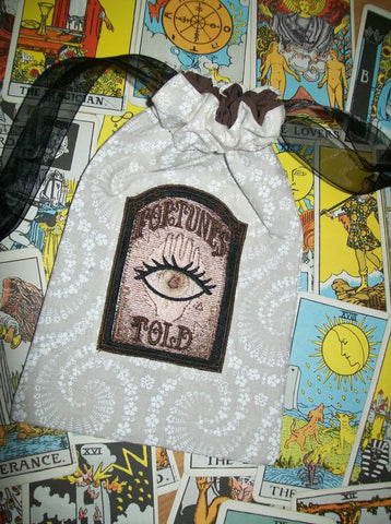White Cotton Fortunes Told Tarot Rune Drawstring Bag