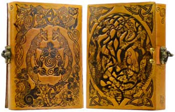 "Yellow Fox Leather Blank Book of Shadows 5"" x 7"""