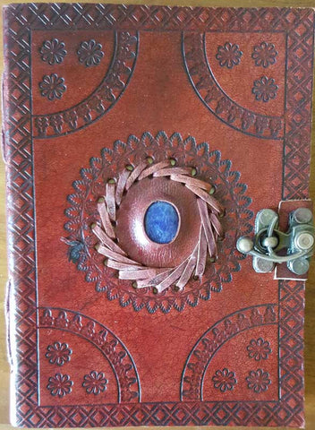 "God's Eye Embossed Leather Journal with Latch 5"" x 7"""