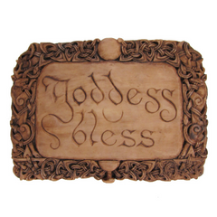 Goddess Bless Plaque - Wood Finish