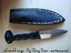 Hand Crafted Black Powder Coated Rail Road Spike Athame 7 inch