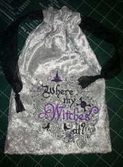 "Silver Velvet Embroidered ""Where My Witches At?"" Tarot Rune Drawstring Bag-7 X 9 inch"