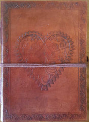 "Heart Leather Blank Book with Cord 5"" x 7"""