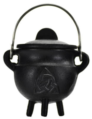 Triquetra Cast Iron Cauldron with Lid-4 inch