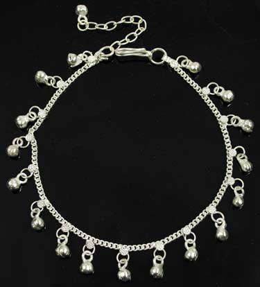 II Silvertone Anklet With Bells