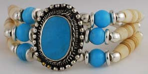 Turquoise and Bone Bracelet