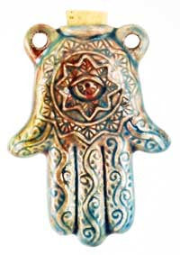 Hamsa Hand Raku oil bottle