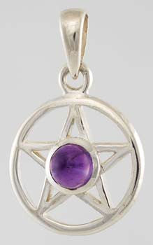 Small Sterling Silver Amethyst Pentagram Charm/Pendant