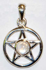 Small Sterling Silver Moonstone Pentagram Charm/Pendant