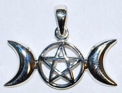 Sterling Silver Triple Moon Pentagram Pendant