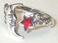 Moon and Star, adjustable Ring