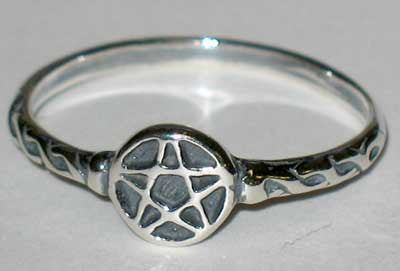 Tiny Pentagram Sterling Silver Ring Sizes 4-9