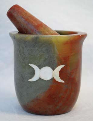 Pearl Inlay Triple Moon Soapstone Mortar and Pestle Set