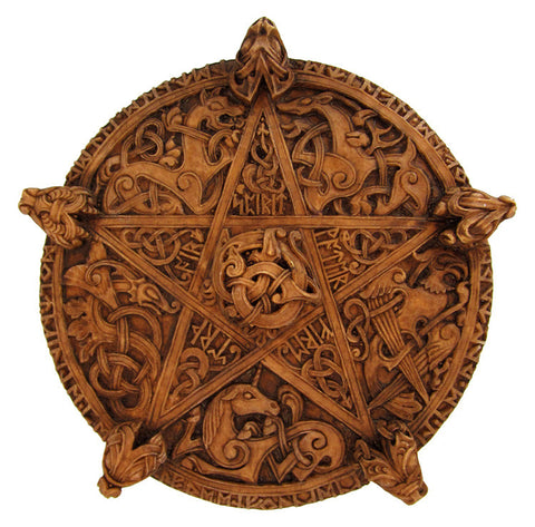 Large Pentacle Plaque w/Celtic Knotwork - 9.5 inch