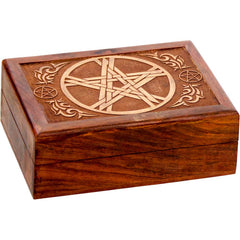 Laser Etched Pentacle Wooden Box - Velvet Lined - 5x7""
