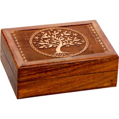 Laser Etched Tree of Life Wooden Box - Velvet Lined - 5x7""