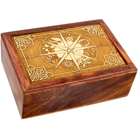 "Laser Etched Wheel of the Year Wooden Box - Velvet Lined - 5""x7"""